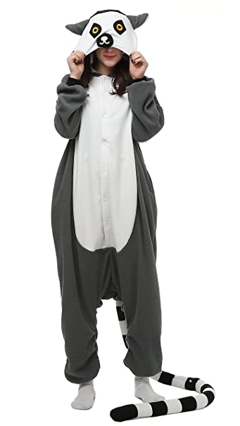 Cosplay Animales Pijamas Mujer Invierno Novedad Navidad Traje Disfraz Adulto Lemur Ringtail