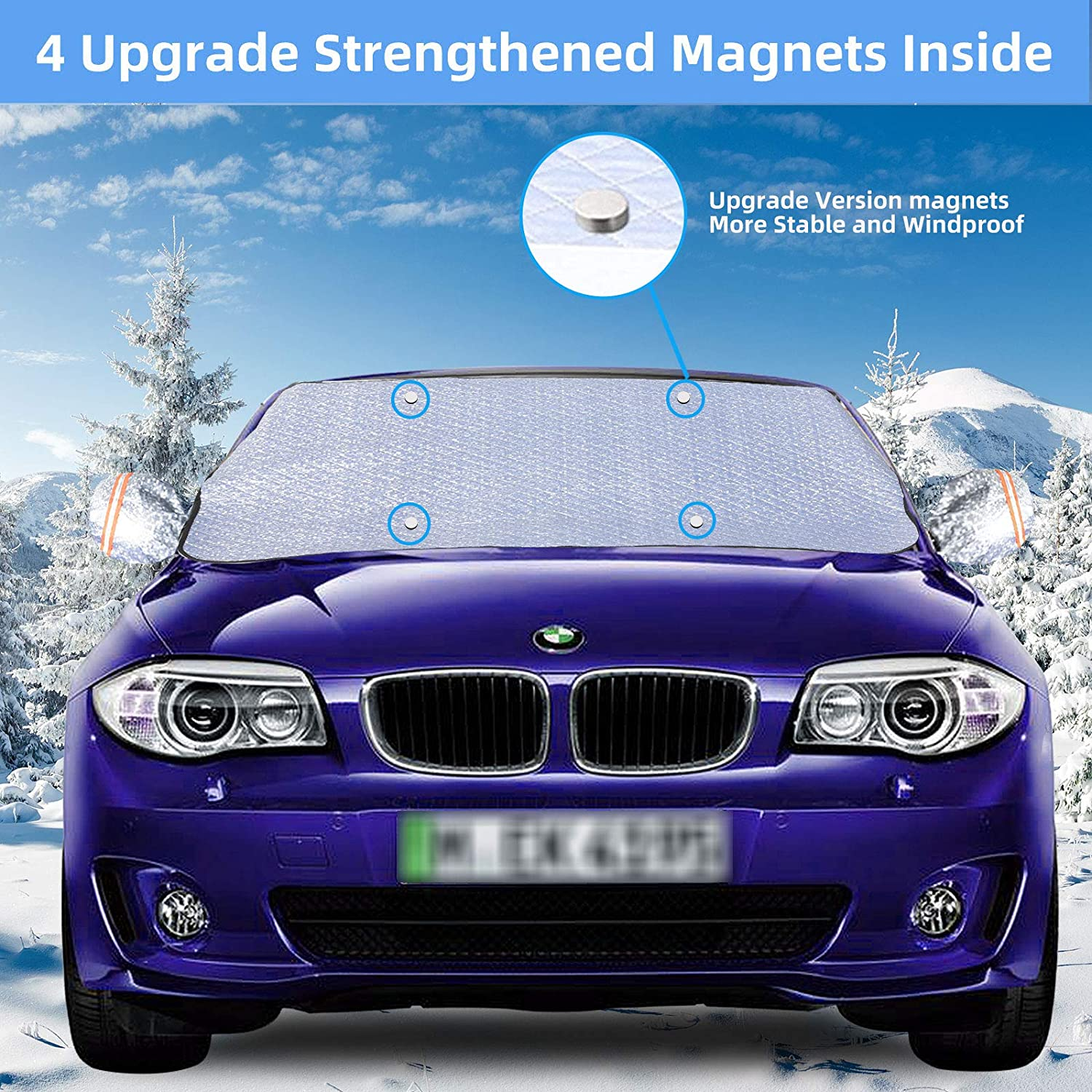 XL Size Thicker Windshield Snow Cover for Ice Frost Sun Rain GAMURRY Windshield Snow Ice Cover 2020 Upgrade Car Windshield Snow Cover Ice Removal with Side Mirror Covers Fit for Most Cars Snow