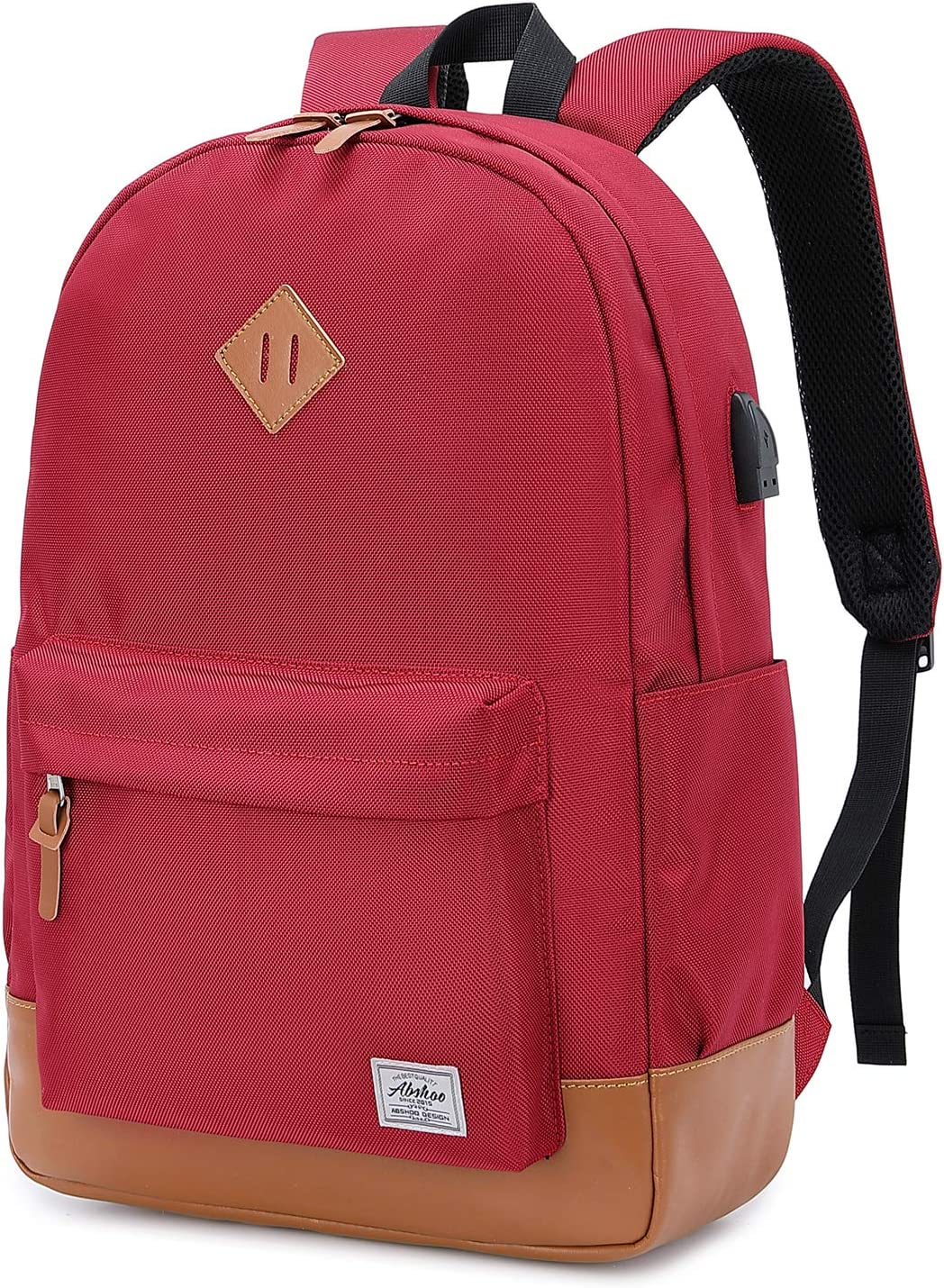 Abshoo Classical Basic Womens Travel Backpack For College Men Water Resistant Laptop School Bookbag (USB Red)