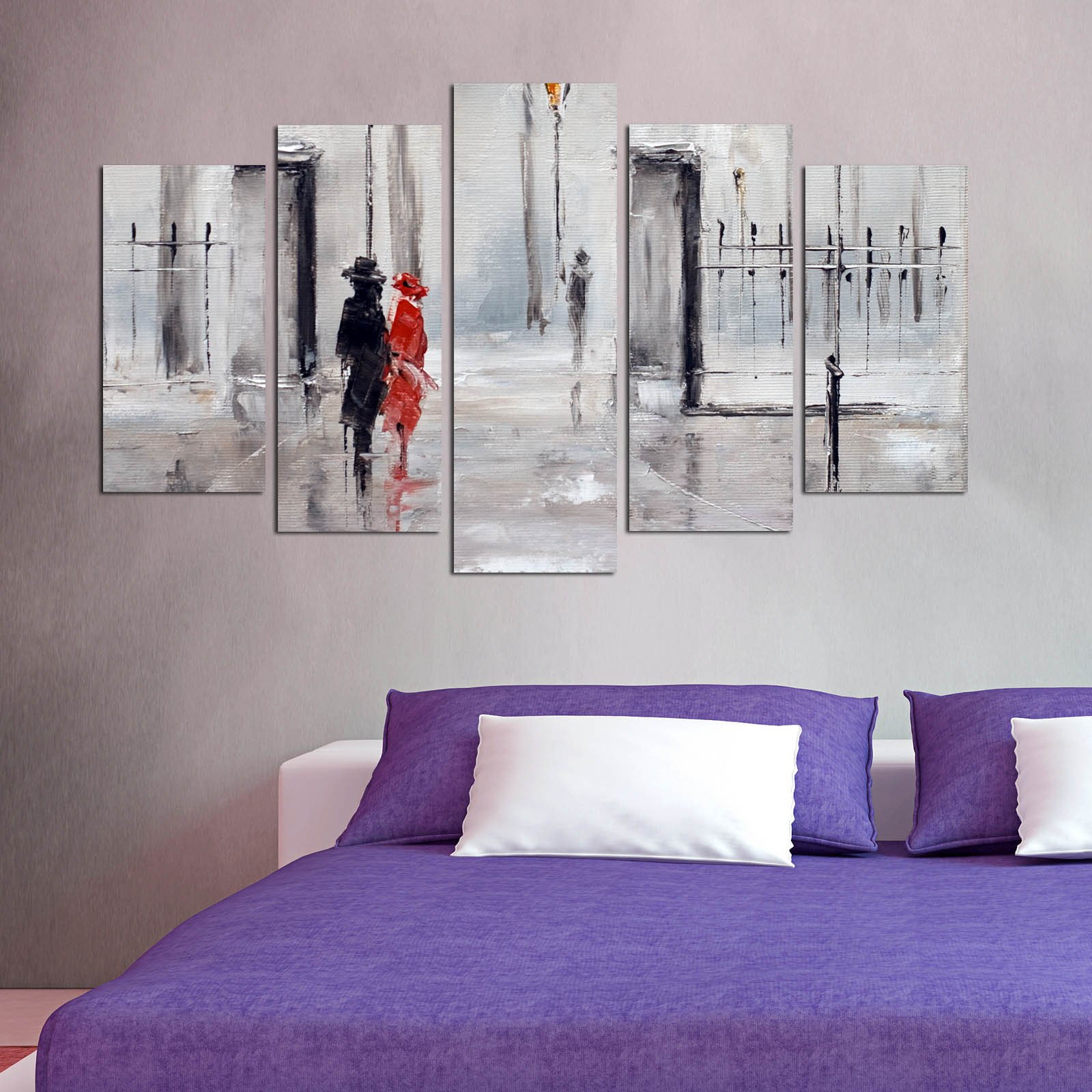 LaModaHome Love MDF Wall Art - Man in Black and Red Dressed Woman are Walking, Couples - Ready to Hang Painting, Total Size (43'' x 24'') - 5 Panels - Wall Hanging for Living Room, Bedroom, Dorm
