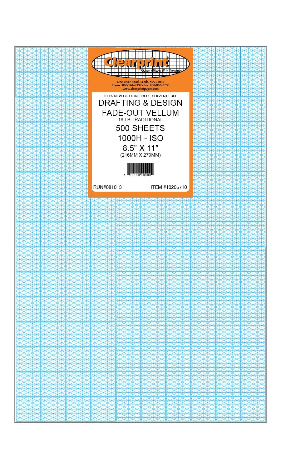 Clearprint 1000H Design Vellum Sheets with Printed Fade-Out 30-Degree Isometric Grid, 16 Lb., 100% Cotton, 8-1/2 x 11 Inches, 500 Sheets (10205710) by Clearprint (Image #1)
