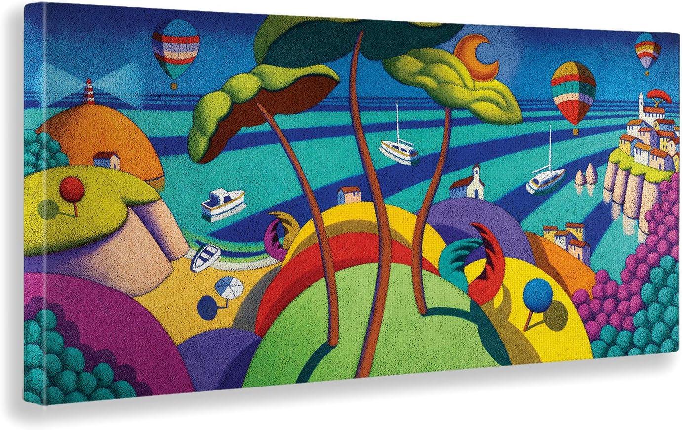 100x50 cm Stampa su su Vetro Acrilico plexiglass Vari Formati Pronto da Appendere Tre Alberi sul Mare Calisti Stefano Giallobus Quadro