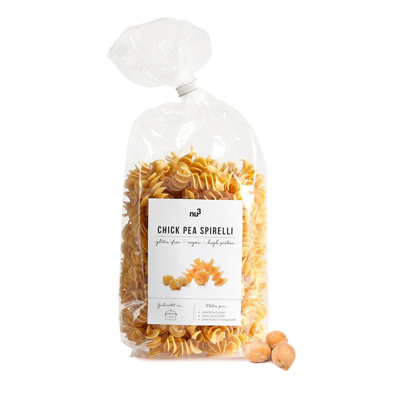 nu3 Paquete de pastas low carb | Pasta de garbanzo, guisantes rojos y amarillos | 3x 250g de fideos fusilli | Pasta sin gluten y sin harina | Fideos veganos ...