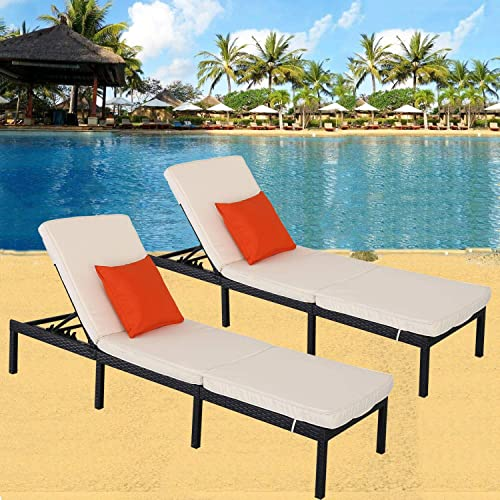HTTH 2pcs Rattan Chaise Lounge Outdoor Patio Chairs All-Weather Sun Chaise Lounge Furniture
