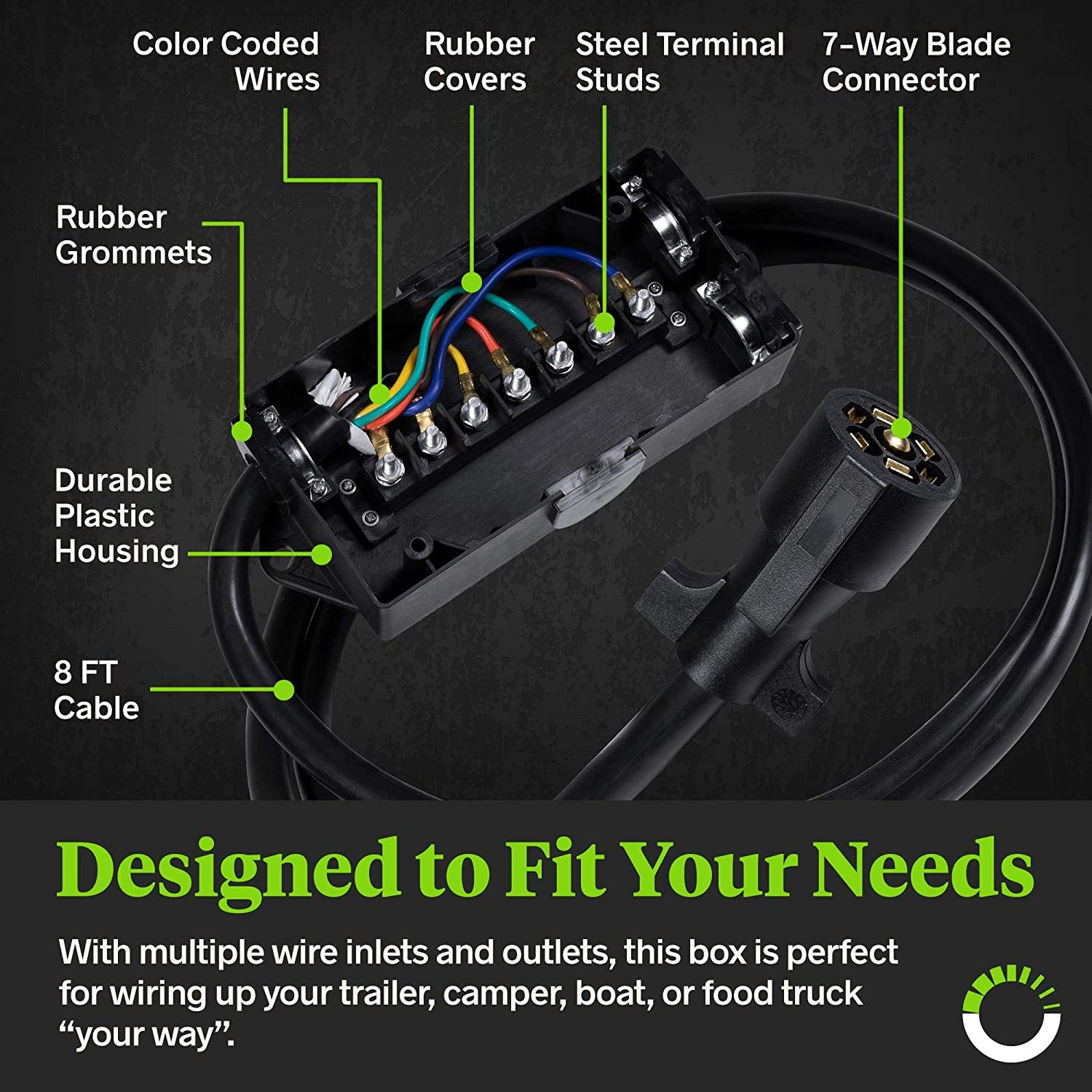 Amazon.com: ONLINE LED STORE 7-Port Trailer Wiring Junction Box w/ 8ft Cord  [Steel Studs] [Stickers Included] [Weatherproof] Trailer Wire/Cable  Connection ...