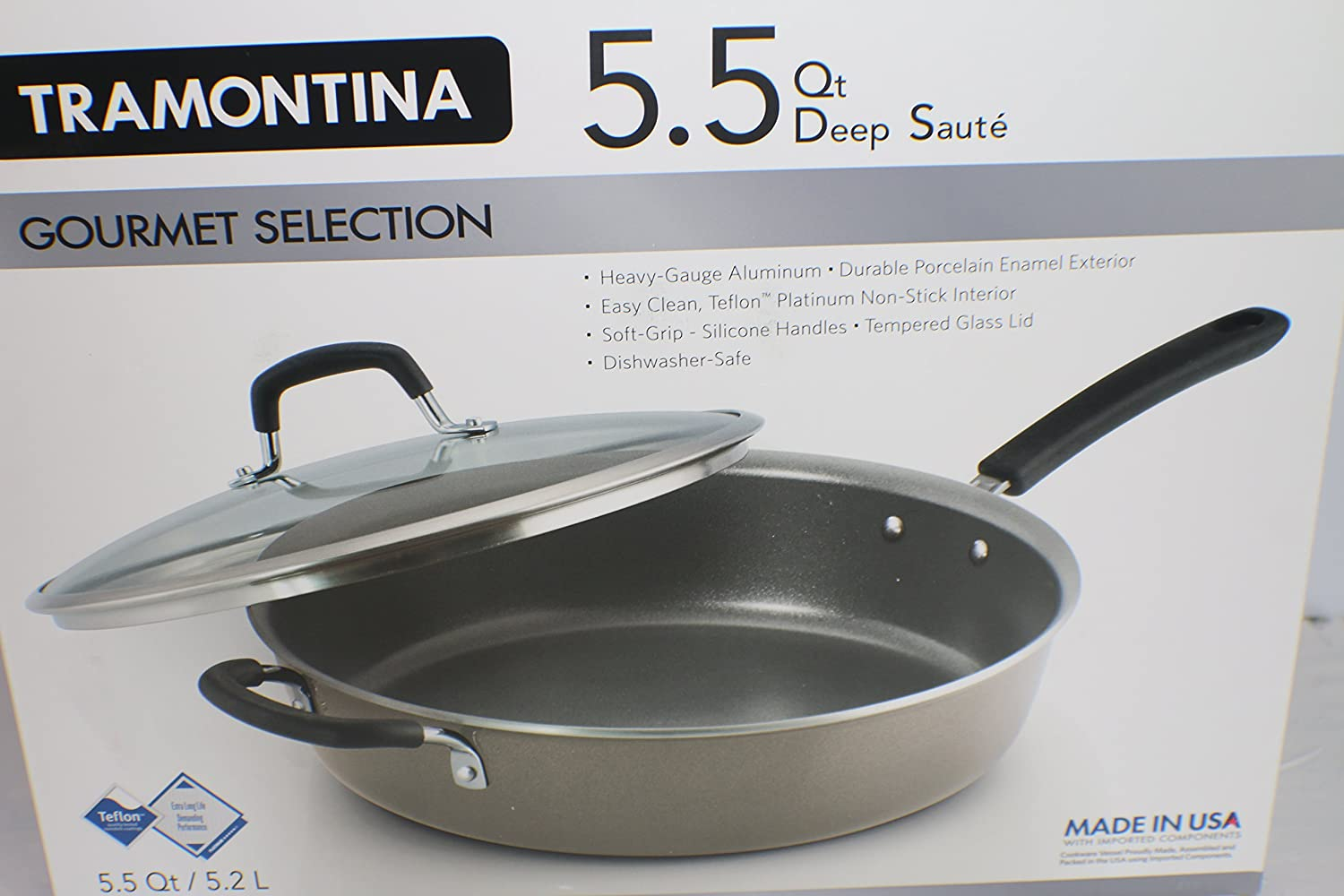 Amazon.com : Tramontina 5.5 qt Deep Saute Cookware Dishwasher Safe ...