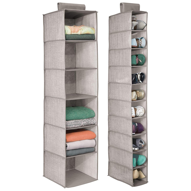 Linen//Tan MetroDecor 6229MDCO Textured Print Set of 2 Includes a Wide 6-Shelf Sweater Organizer mDesign Fabric Over Rod Hanging Closet Storage Organizers and a Narrow 10-Shelf Shoe Rack