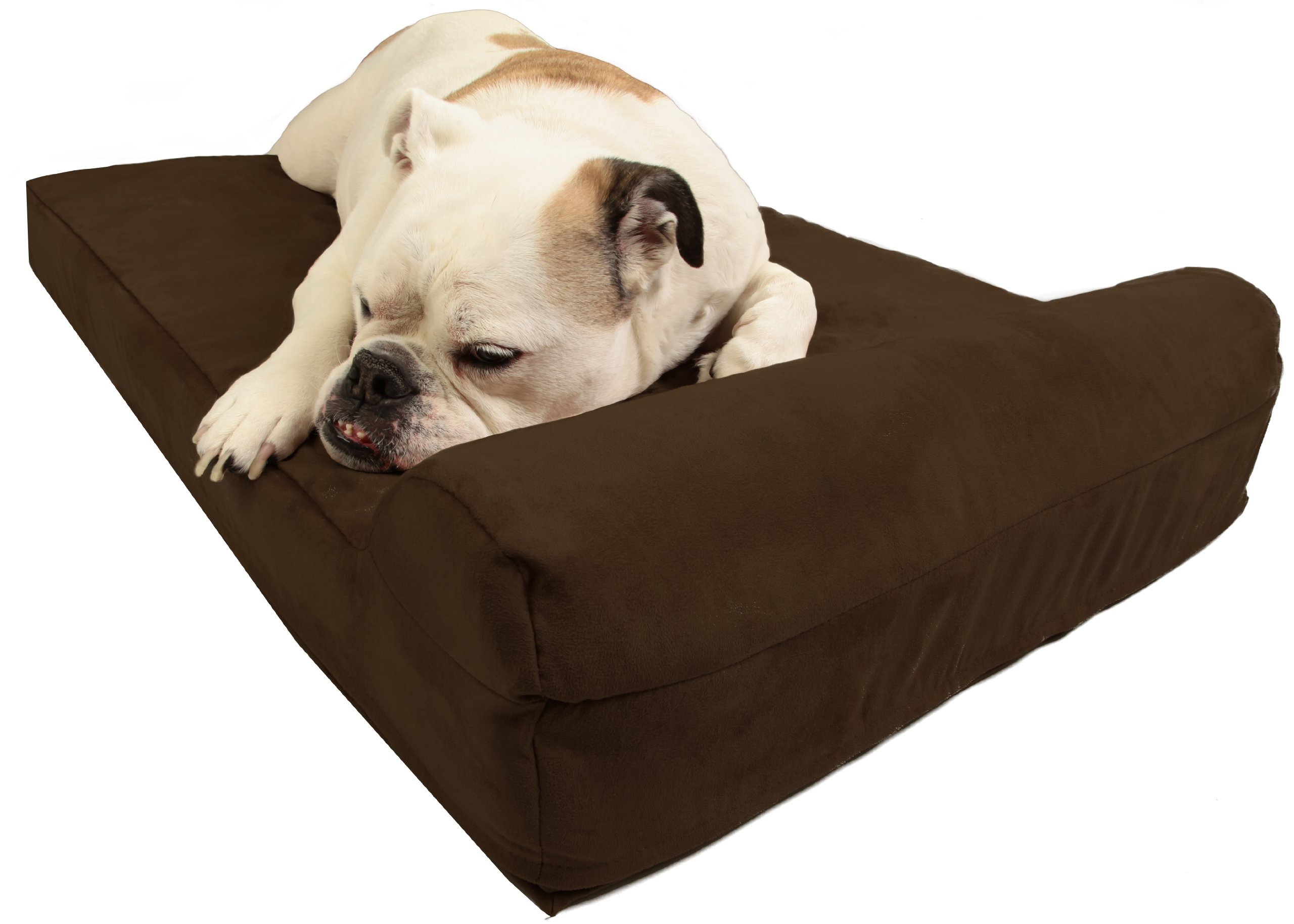 Barker Junior - 4'' Pillow Top Orthopedic Dog Bed with Headrest for Medium Size Dogs 30 - 50 Pounds