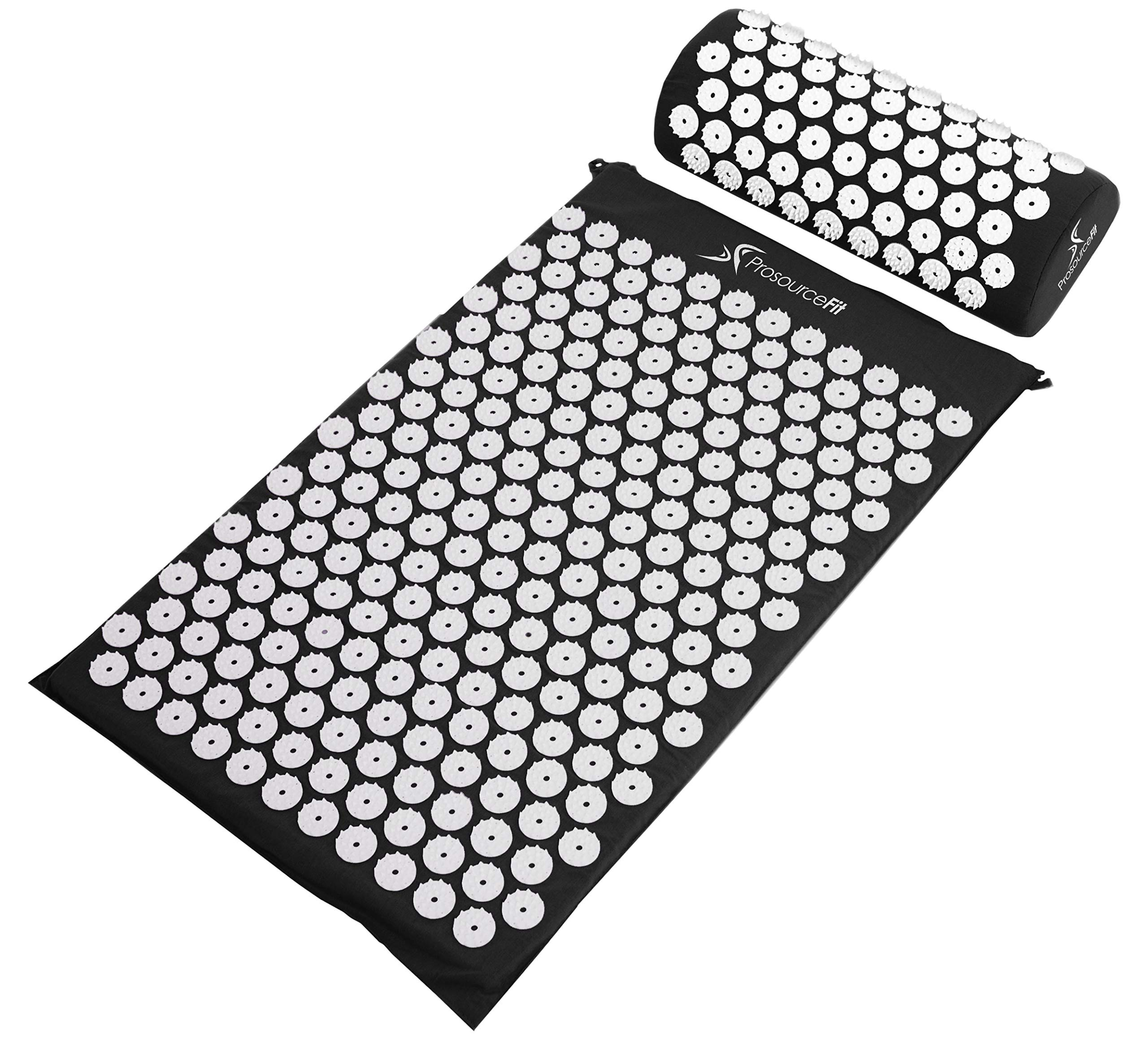 ProSource Acupressure Mat and Pillow Set for Back/Neck Pain Relief and Muscle Relaxation, Black by ProSource (Image #1)