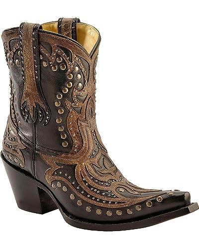 Women's Distressed Overlay Studded Short Boot Snip Toe - G1074