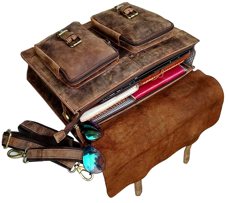 Cuero Retro Buffalo Hunter Leather Laptop Messenger Bag Office Briefcase College Bag (18 inch) by cuero (Image #4)
