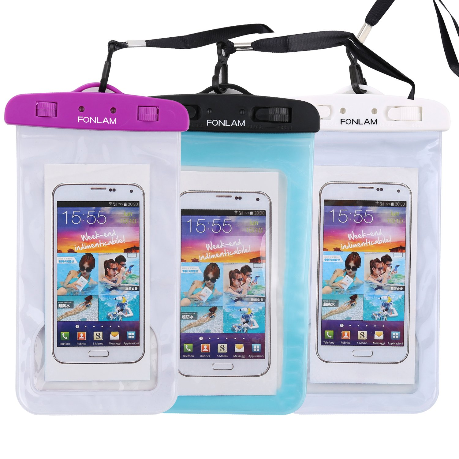 Universal Waterproof Case, FONLAM IPX8 Waterproof Phone Pouch Dry Bag for iPhone X, 8/7/7 Plus/6/6S Plus, Samsung Galaxy S9/S9 Plus/S8/S8 Plus/Note 8, Google Pixel 2 LG up to 7.0'' (Purple,Black,White)