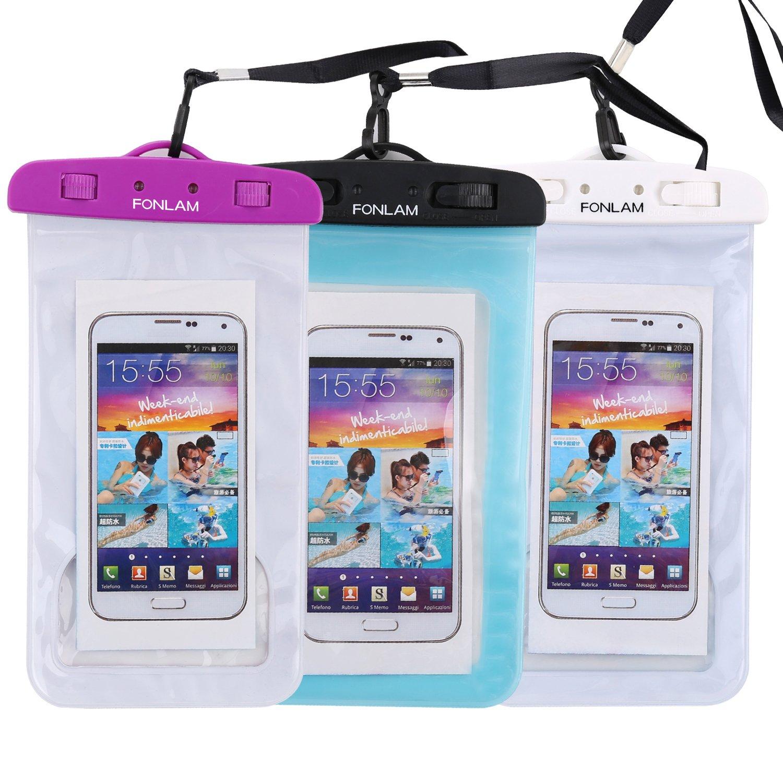 Universal Waterproof Case, FONLAM IPX8 Waterproof Phone Pouch Dry Bag for iPhone X, 8/7/7 Plus/6/6S Plus, Samsung Galaxy S9/S9 Plus/S8/S8 Plus/Note 8, Google Pixel 2 LG up to 7.0'' (Purple,Black,White) by FONLAM (Image #1)