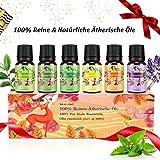 Aceites esenciales orgánicos, Idea de regalo, para difusores de aromaterapia - Aceites esenciales de lavanda, naranja dulce, menta, limoncillo, árbol de té, eucalipto