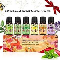Aromatherapie Ätherische Öle Geschenkset für Diffuser - 100% Pure Aroma Duftöle - Teebaumsöl,Lavendelöl,Pfefferminzöl,Eukalyptusöl,Zitronengrasöl,Süßorangeöl - Therapeutic-Grade Essential Oils MEHRWEG