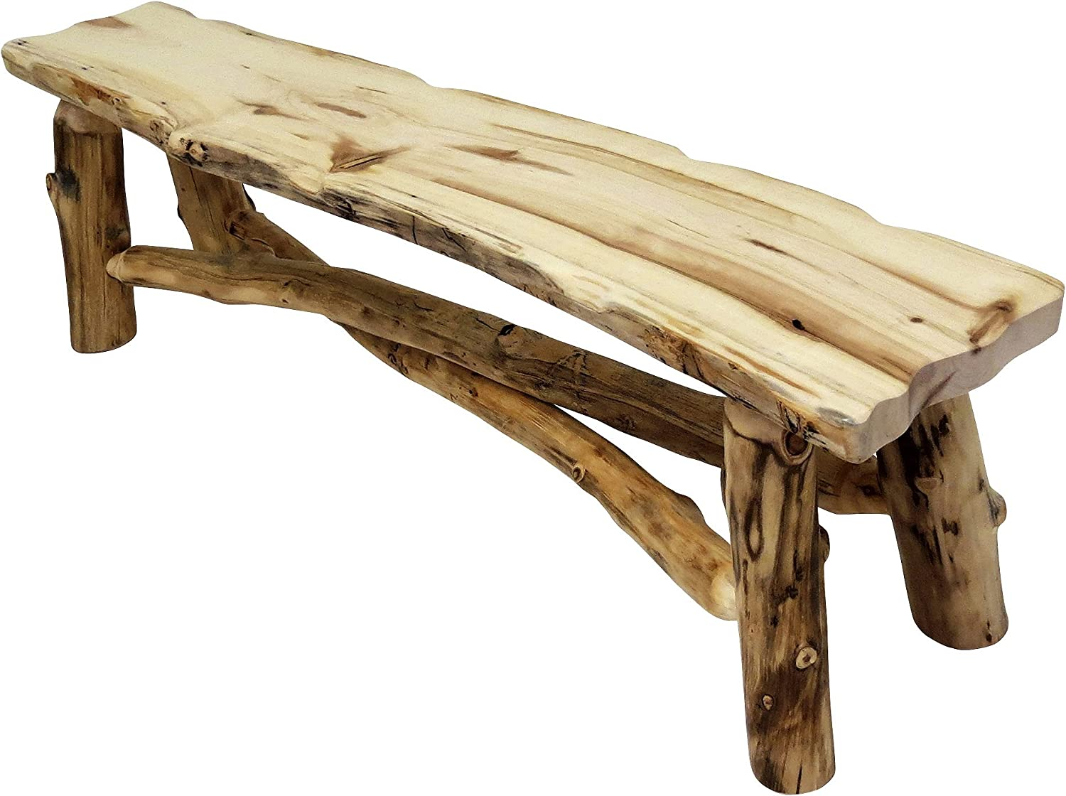 Mountain Woods Furniture Aspen Grizzly Collection Bench, 5', Bronze Aspen Finish