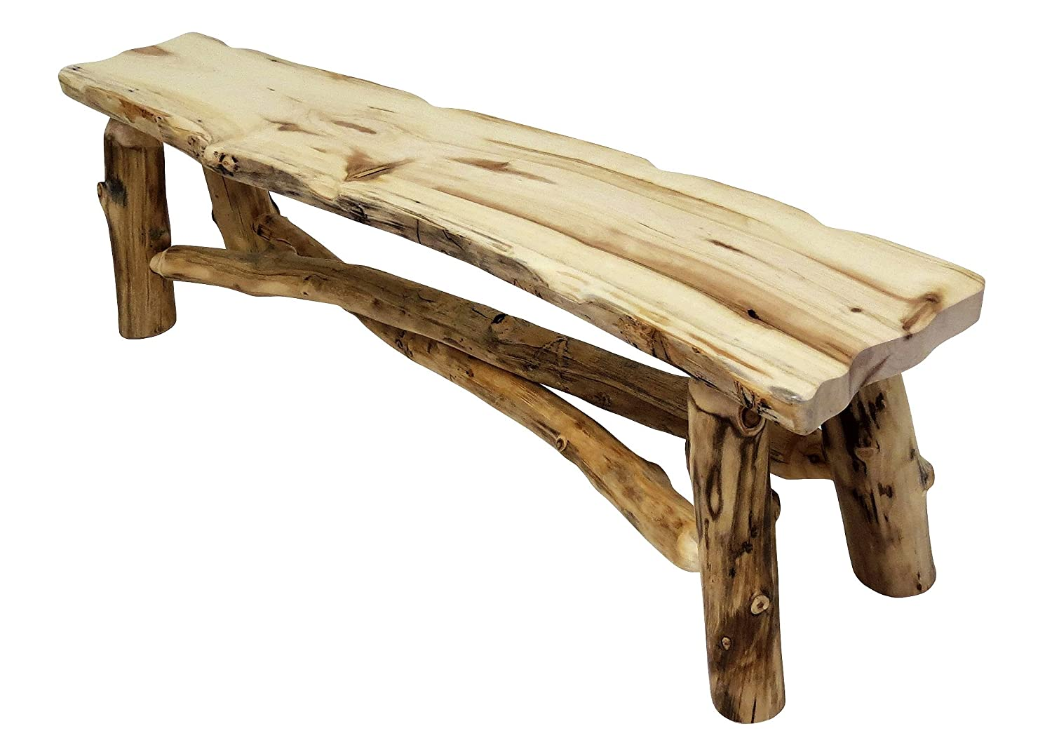 Mountain Woods Furniture Aspen Grizzly Collection Bench, 4', Poly Finish