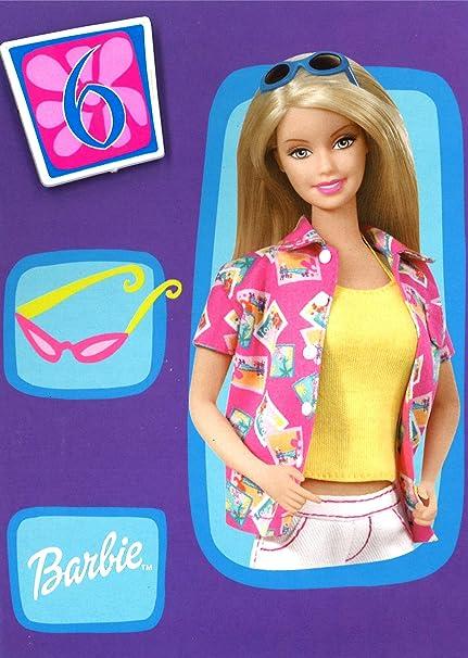 Barbie 6 hoy tarjeta de cumpleaños con insignia y sobres ...