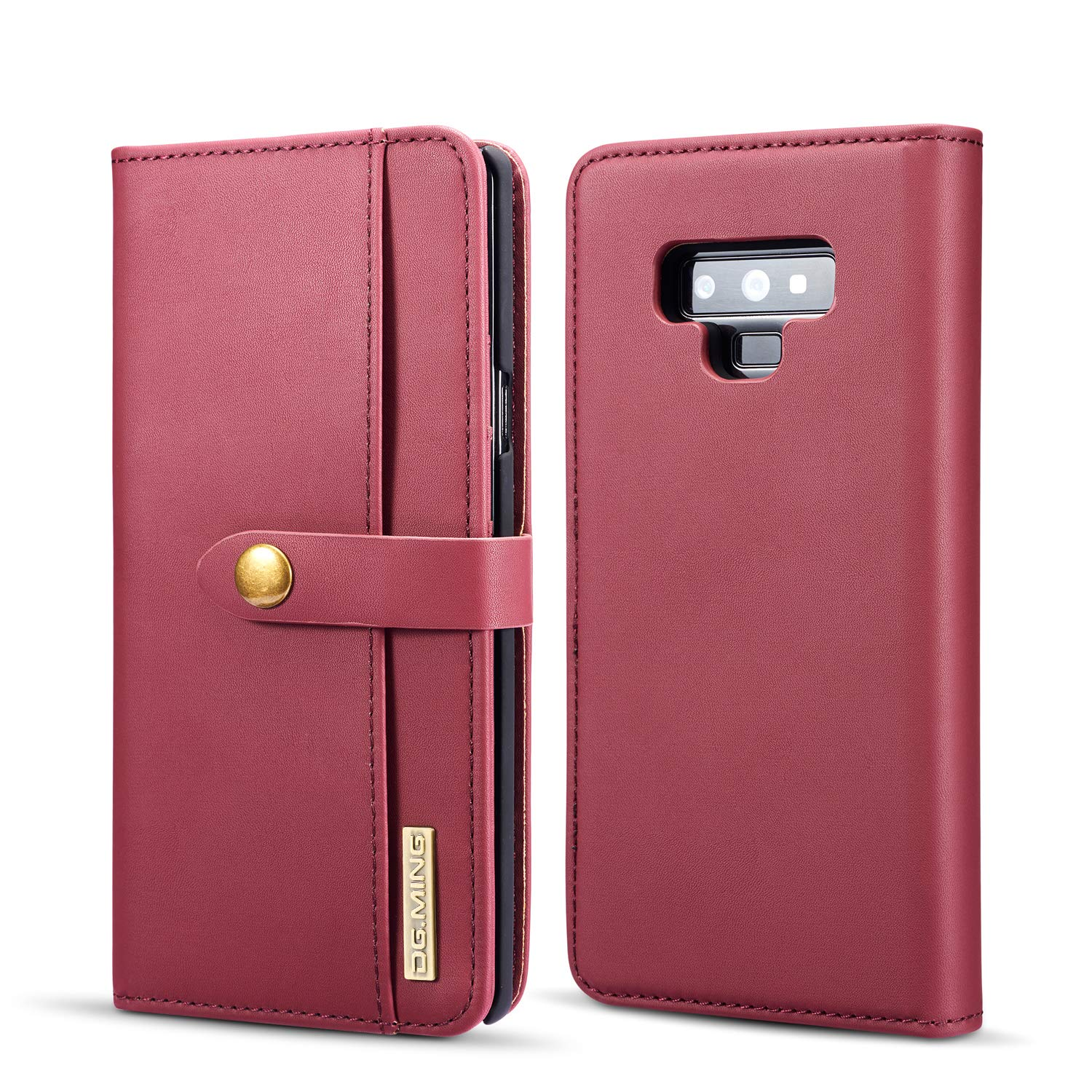 FUNIT Galaxy Note 9 Wallet Case [Soft Sheep Skin] Detachable Premium Leather Stand Feature Card Cash Slot Holder Flip Protective Cover for Samsung Galaxy Note 9 6.4 Inch (Red) MING02-Galaxy Note 9