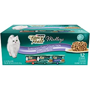 Fancy Feast Medleys Wet Cat Food Variety Pack, Shredded Fare Collection, (12) 3 Oz Cans