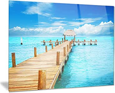 Designart Tropic Paradise Jetty in Mexico Seascape Photo Metal Wall Art Disc of 23 inch 23 H x 23 W x 1 D 1P Blue