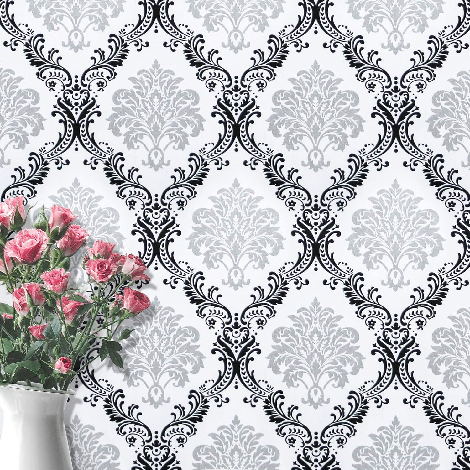 White Black Peel And Stick Wallpaper Removable Contact Paper Decorative Damascus Wall Paper Flower Wallpaper Wall Covering Embossed Self Adhesive Wallpaper Shelf Drawer Liner Vinyl Roll17 7 X78 7 Amazon Com