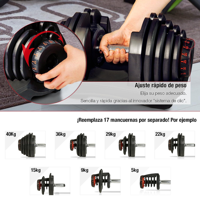 Mancuerna ajustable Sportstech 17en1-Mancuerna con un innovador sistema de clic para 5-40 kg,la AH400 con anillo de agarre de seguridad y mango ...