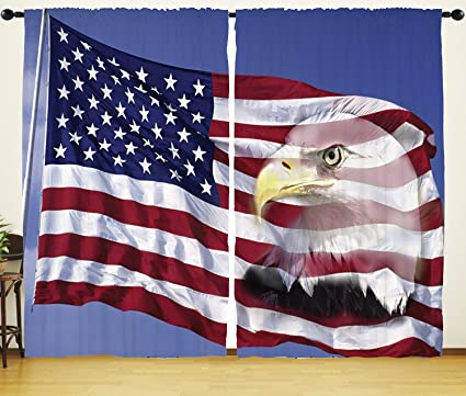 HGOD DESIGNS Flag Window Curtains for Bedroom,Bless America Flag in the Wind with Eagle