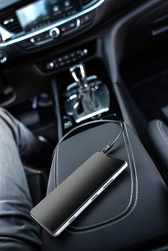 Radio de Coche 3,5mm Cable Jack Chapado en Oro Smartphone Poppstar 2m Cable de Audio est/éreo Reproductor mp3 Cable de Altavoz para Auriculares Negro