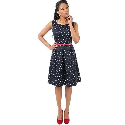 KRISP Women's Summer Pin Up Butterfly Print Tea Dress Knee Length Skater Midi