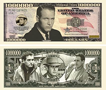 "Amazon.com  50 Paul Newman Million Dollar Bill with Bonus ""Thanks a  Million"" Gift Card Set  Everything Else 8304d8f4f"