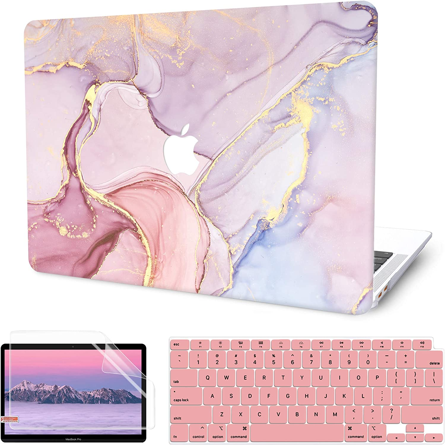 MacBook Air 13 Inch Case 2020 2019 2018 Release M1 A2337 A2179 A1932 with Touch ID, G JGOO MacBook Air 2020 Case Retina, Plastic Hard Laptop Shell Case + Keyboard Cover + Screen Protector, Pink Marble