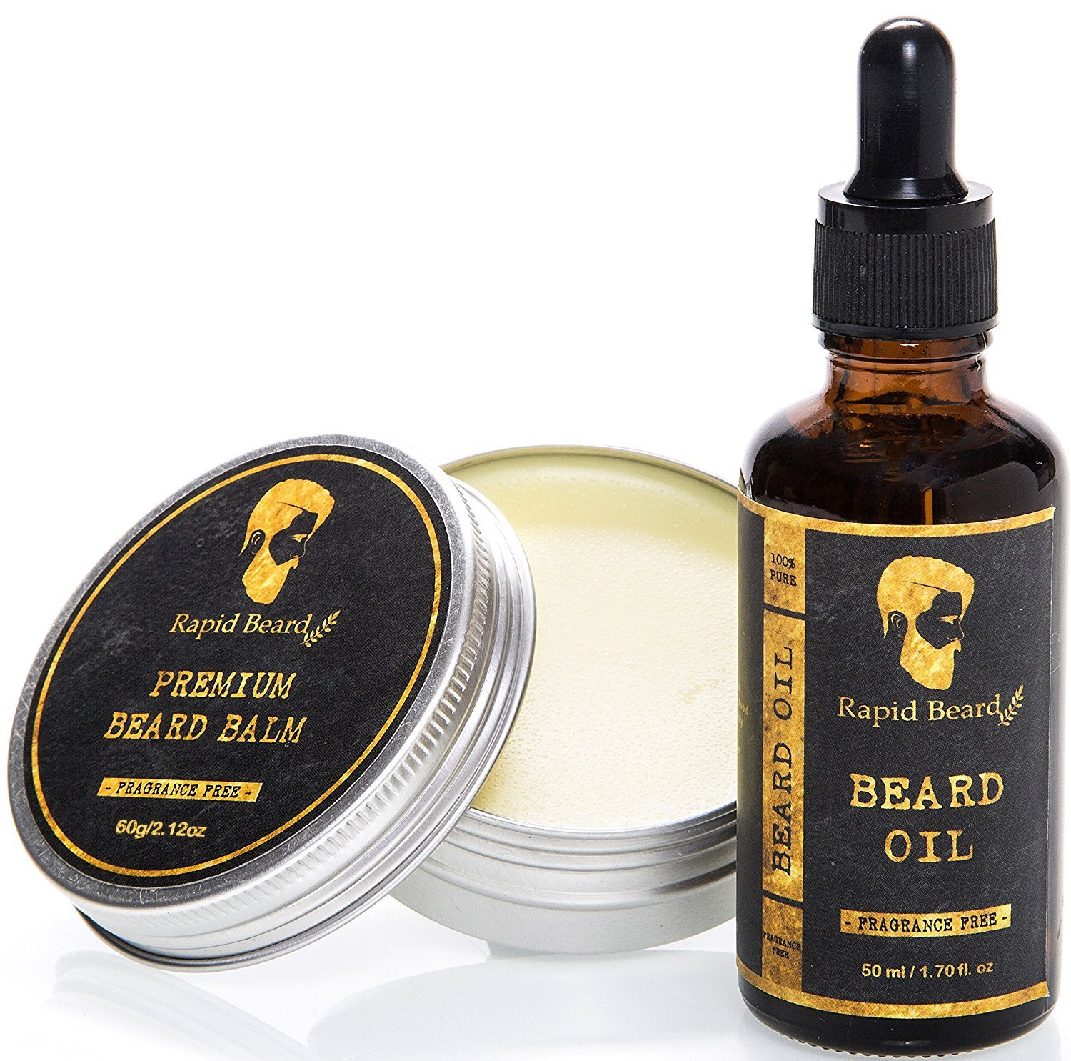 Beard Oil and Beard Balm Kit for Men Care - Unscented Leave in Beard Conditioner, Heavy Duty Beard Butter, Mustache Wax & Softener Gift set - for Beard and Mustache Styling, Shaping, Grooming & Growth Rapid Beard