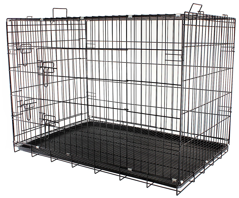 de metal 91x61x67 plegable negra L 2/puertas para transporte de cachorros Jaula para perros