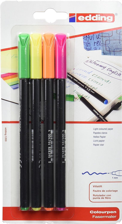 edding 1200NEON4 - Blister con 4 rotuladores, color neón: Amazon.es: Oficina y papelería