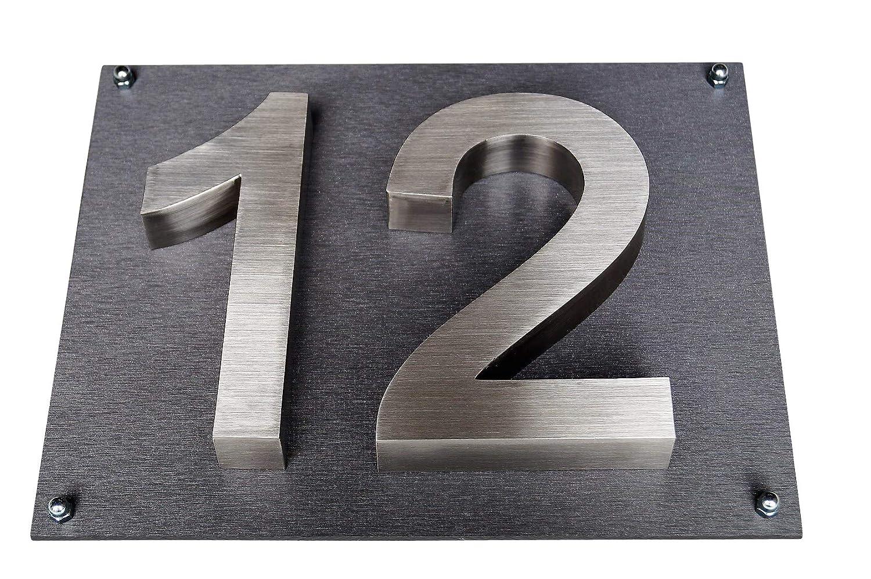 Hausnummer Edelstahl Platte 35cm x 28cm New-Design in 2D diamant-anthrazit