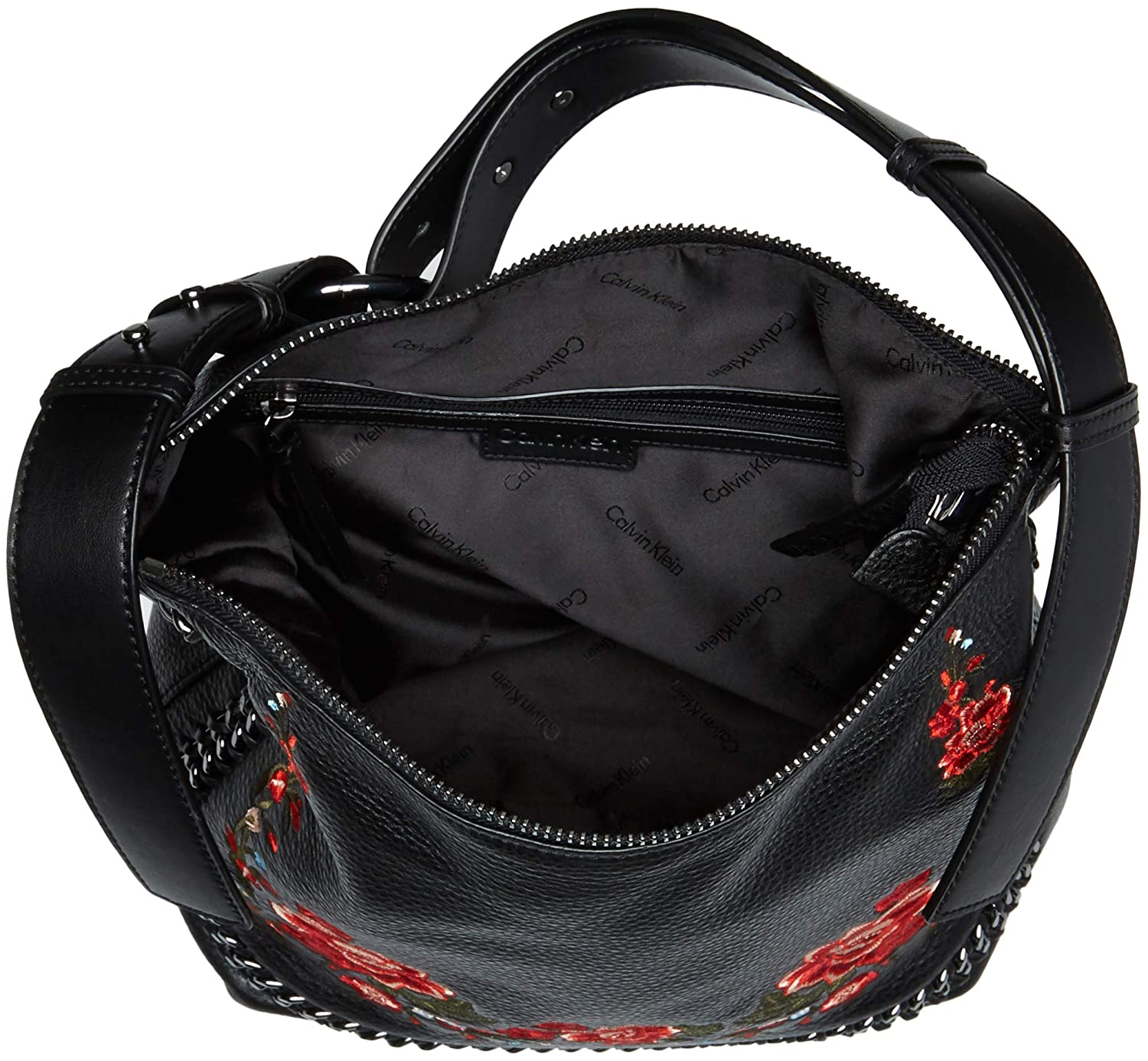 28a555267b89 Amazon.com  Calvin Klein womens Calvin Klein Liana Pebble Leather Floral  Embroidery Belted Top Zip Slouchy Hobo
