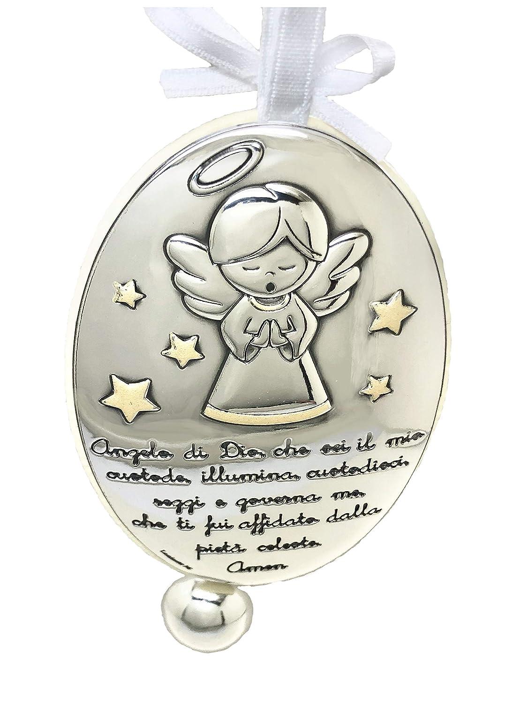 Medallon de cuna o cochecito en Plata bilaminada con /Ángel de la Guarda con inscripci/ón de preciosa oraci/ón y avisador de /Ángeles custodios en Italiano.