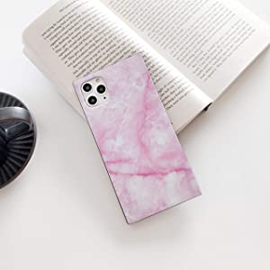 """Cocomii Square Marble iPhone 11 Pro Max Case, Slim Thin Glossy Soft Flexible TPU Silicone Rubber Gel Trunk Box Square Edges Fashion Bumper Cover Compatible with Apple iPhone 11 Pro Max 6.5"""" (Pink)"""