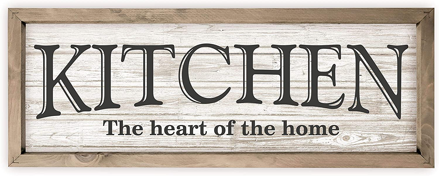 Kitchen The Heart of The Home Rustic Wood Wall Sign 7x19 (White with Frame)