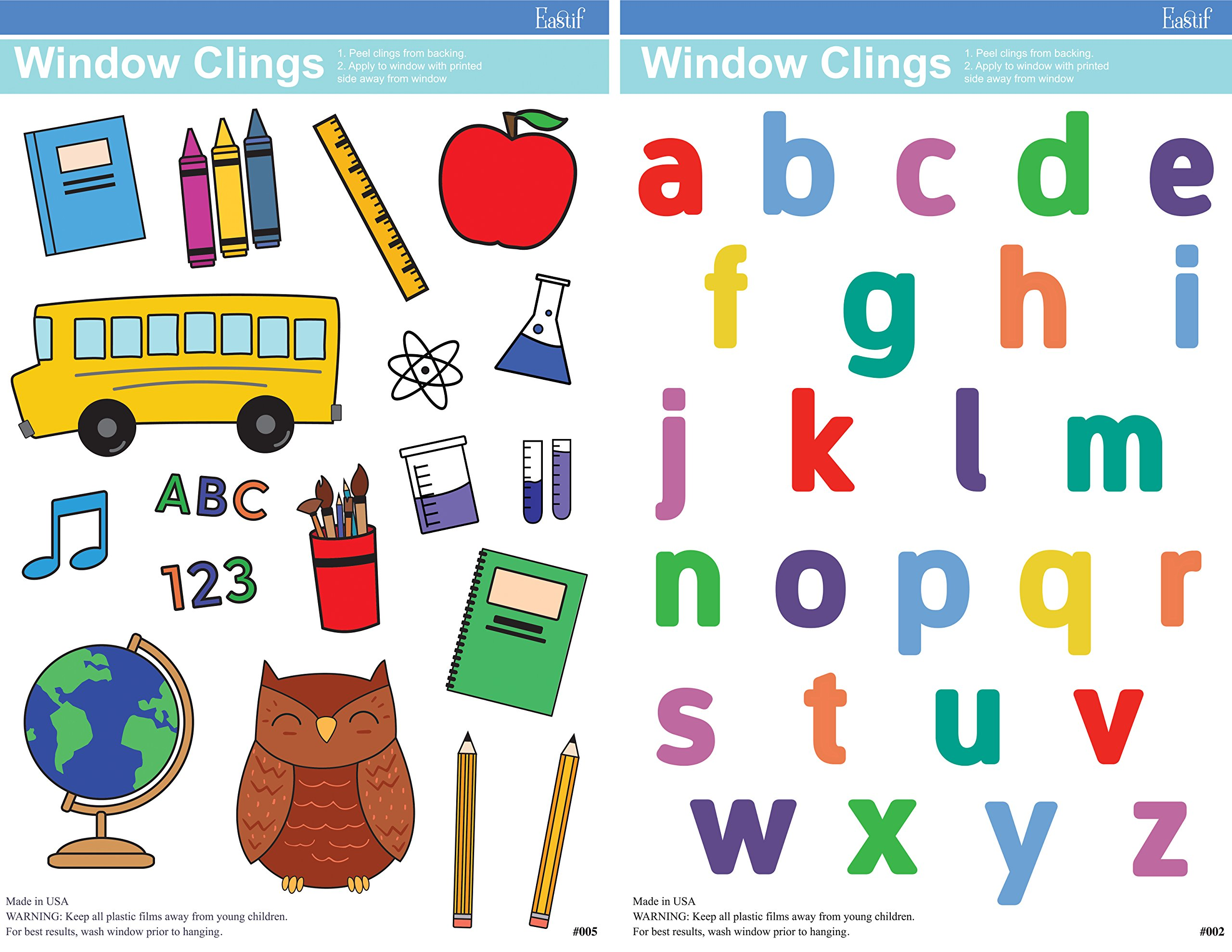 Eastif Back to School and ABC Classroom Window Clings, 2 Sheets