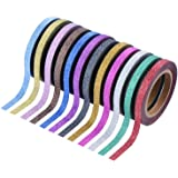 Outus 24 Pieces Washi Tapes Glitter Crafting Tape Art Tapes Masking Tape for Arts Crafts and DIY, 12 Colors