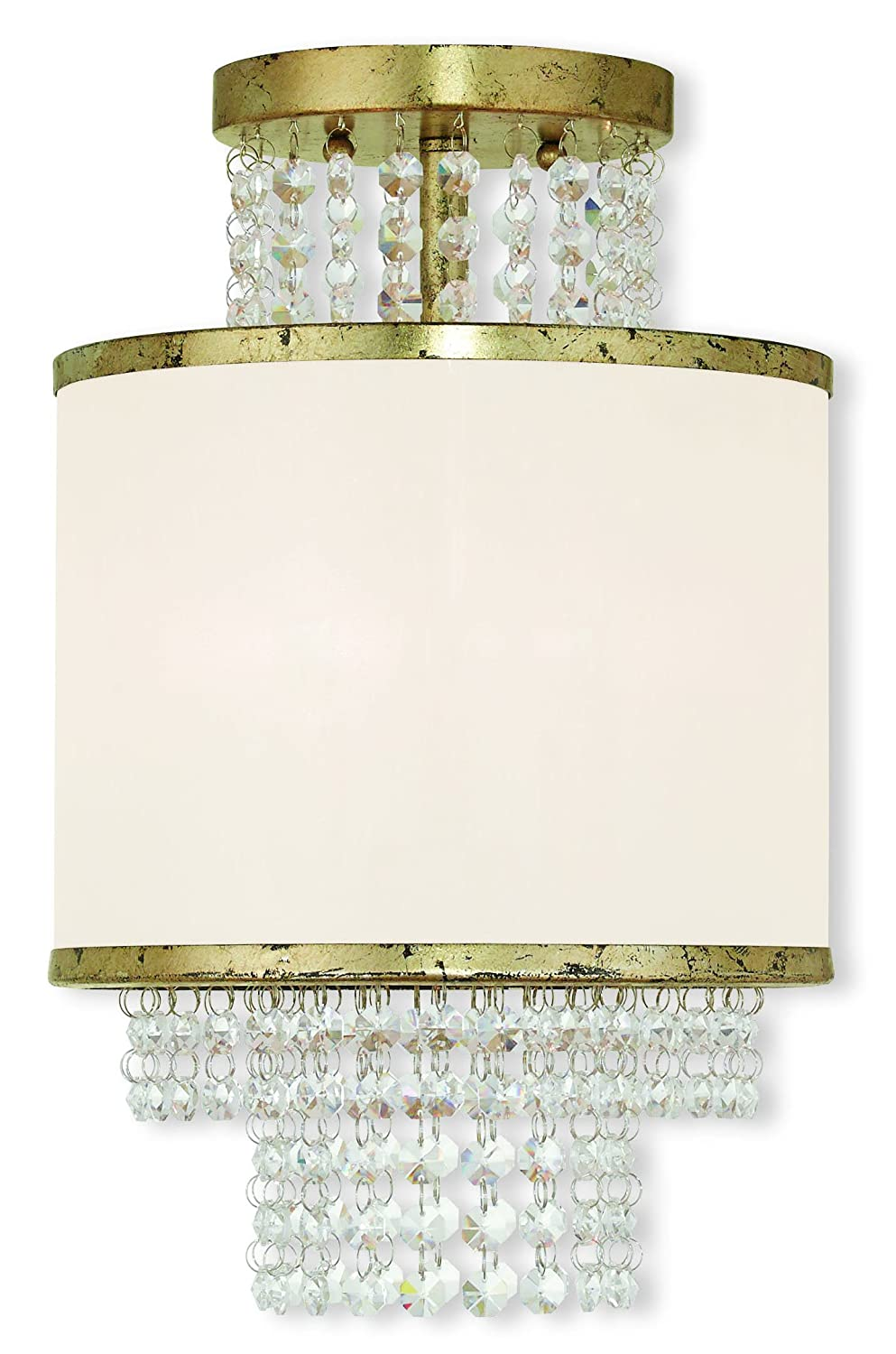 Livex Lighting 50792-28 Winter Gold Flush Mount with an Off-White Sheer Organza Shade