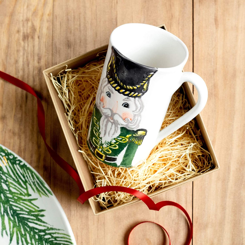 Vietri Nutcrackers Latte Mug with Soldier Design