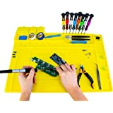 KOTTO Anti-Static ESD Safe Magnetic Soldering Mat, Silicone Repair Mat, includes Repair Tools Kit and Anti Static…