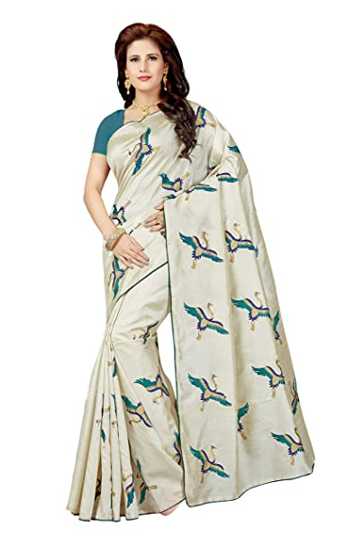4f6bfb72875 Rani Saahiba Art Silk Embroidered Saree with Blouse Piece (SKR4449 Cream -  Turquoise)