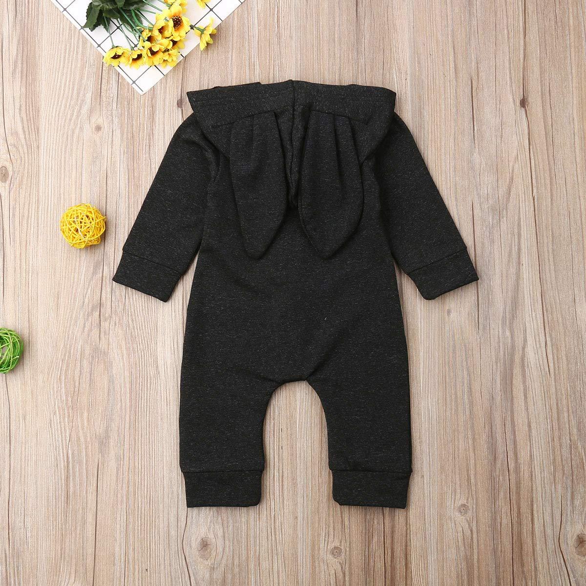 CIPOGL Neugeborenes Baby M/ädchen Jungen Strampler 3D Ohren mit Kapuze Einfarbig Strampler Overall Outfits Unisex Baby Kleidung Set