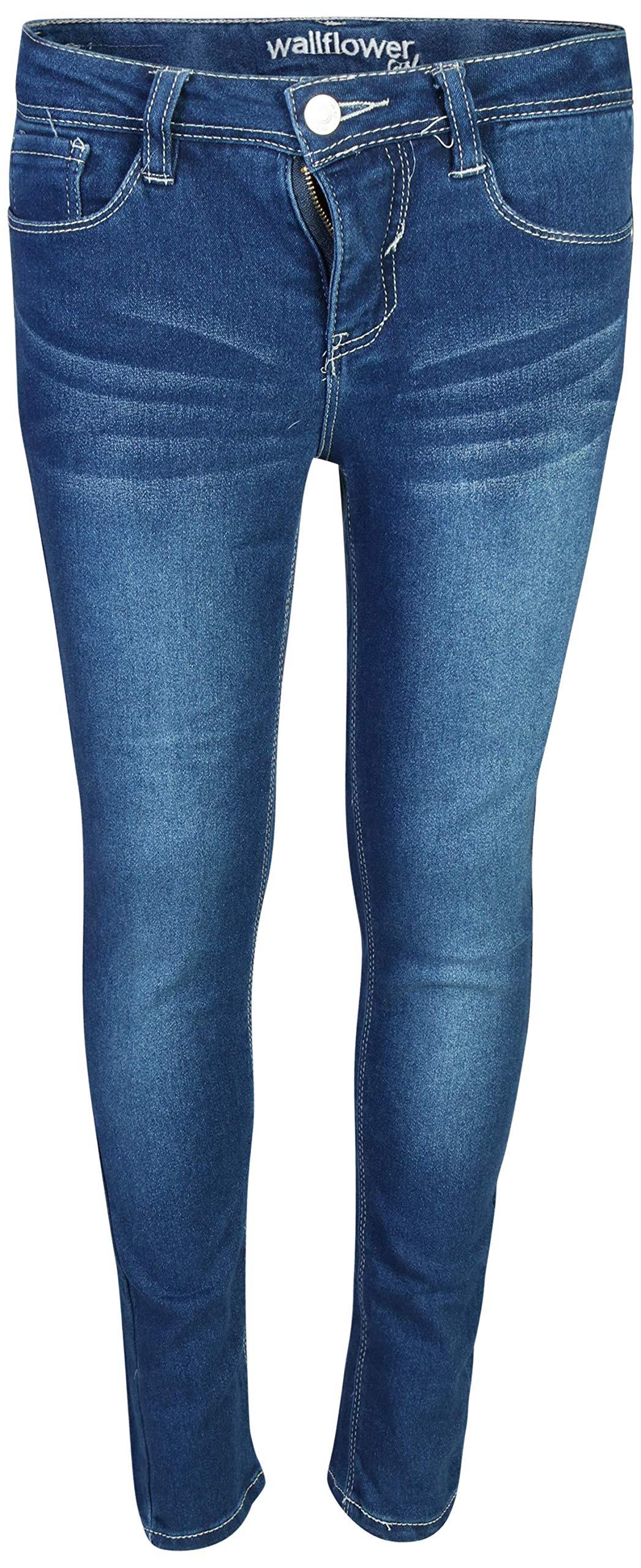 WallFlower Girls Soft Stretch Skinny Denim Jeans, Dark Wash, Size 14'
