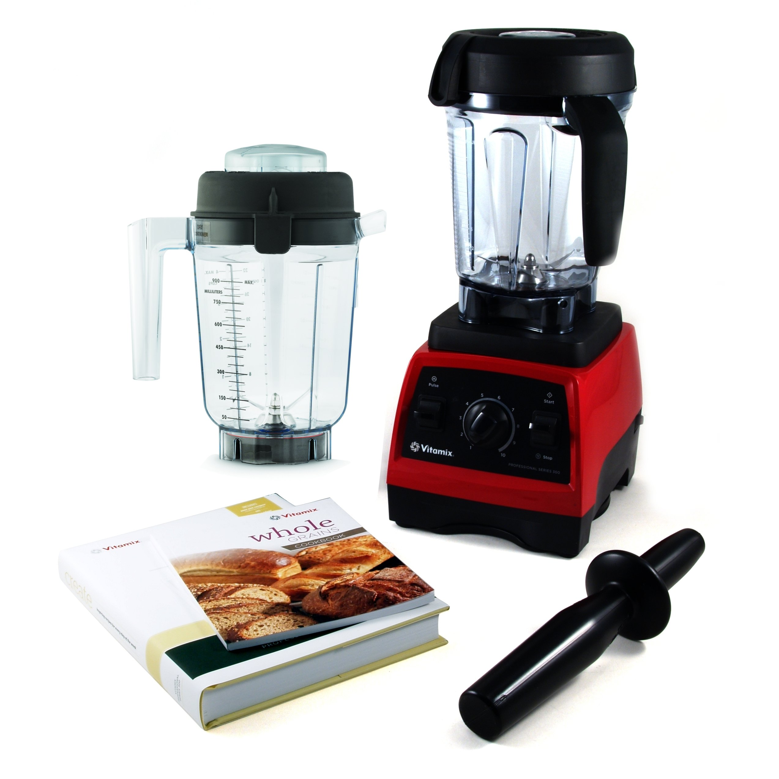 Vitamix CIA Professional Series 300 Ruby Red Blender With Wet Container, Dry Grains Container, and 2 Cookbooks