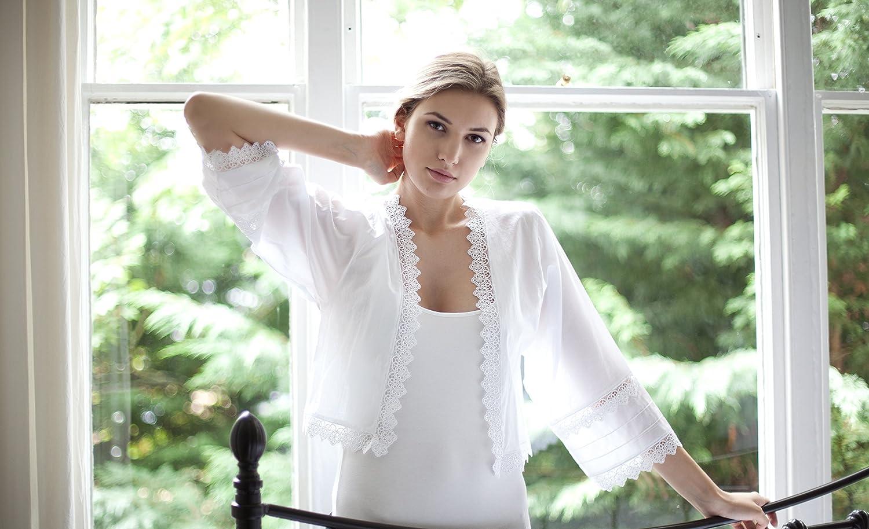 XXXL XS to XL White Nightwear Cottonreal Calla Victorian 100/% Cotton Bed Jacket